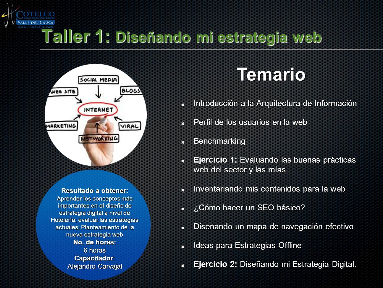 Taller 1: Diseñando mi estrategia web Introducción a la Arquitectura de Información Perfil de los usuarios en la web Benchmarking Ejercicio 1: Evaluan