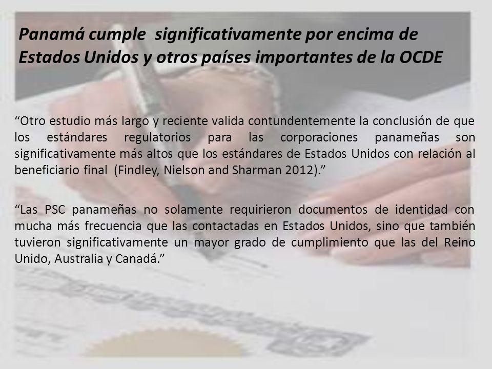 Panamá cumple significativamente por encima de Estados Unidos y otros países importantes de la OCDE Otro estudio más largo y reciente valida contunden