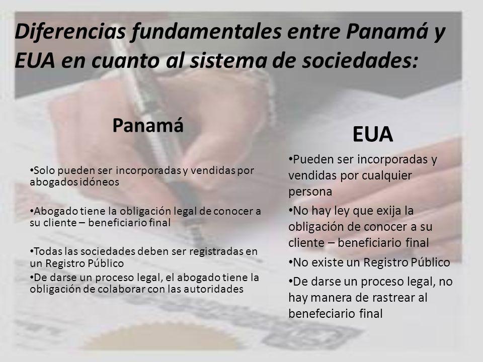 Diferencias fundamentales entre Panamá y EUA en cuanto al sistema de sociedades: Panamá Solo pueden ser incorporadas y vendidas por abogados idóneos A