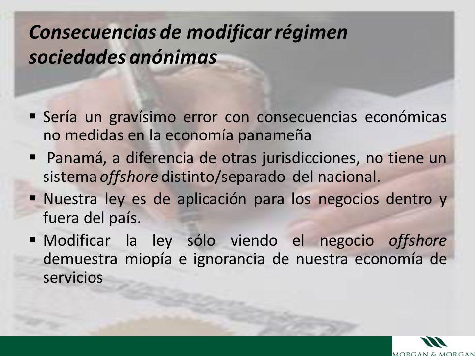 Consecuencias de modificar régimen sociedades anónimas Sería un gravísimo error con consecuencias económicas no medidas en la economía panameña Panamá