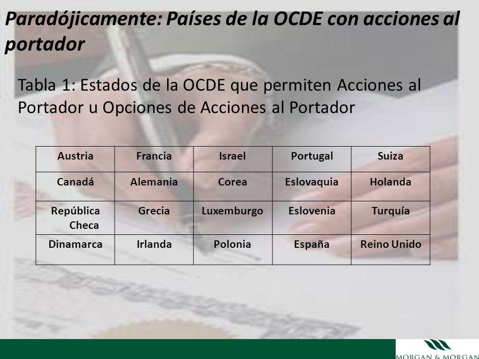 Paradójicamente: Países de la OCDE con acciones al portador Tabla 1: Estados de la OCDE que permiten Acciones al Portador u Opciones de Acciones al Po