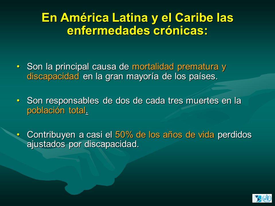 En América Latina y el Caribe las enfermedades crónicas: Son la principal causa de mortalidad prematura y discapacidad en la gran mayoría de los paíse