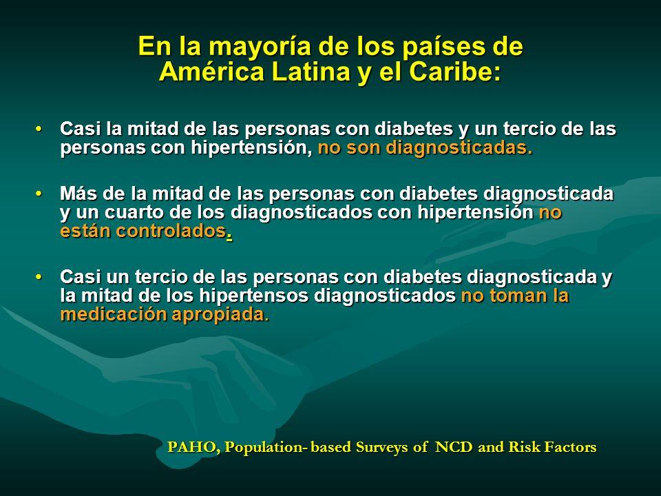 En la mayoría de los países de América Latina y el Caribe: Casi la mitad de las personas con diabetes y un tercio de las personas con hipertensión, no