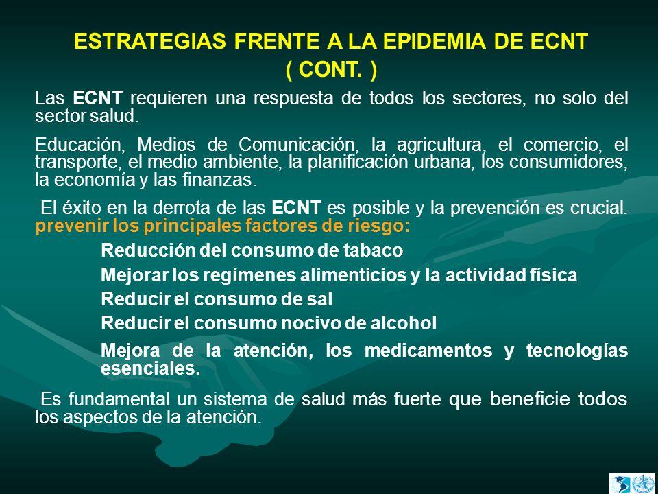 ESTRATEGIAS FRENTE A LA EPIDEMIA DE ECNT ( CONT. ) Las ECNT requieren una respuesta de todos los sectores, no solo del sector salud. Educación, Medios