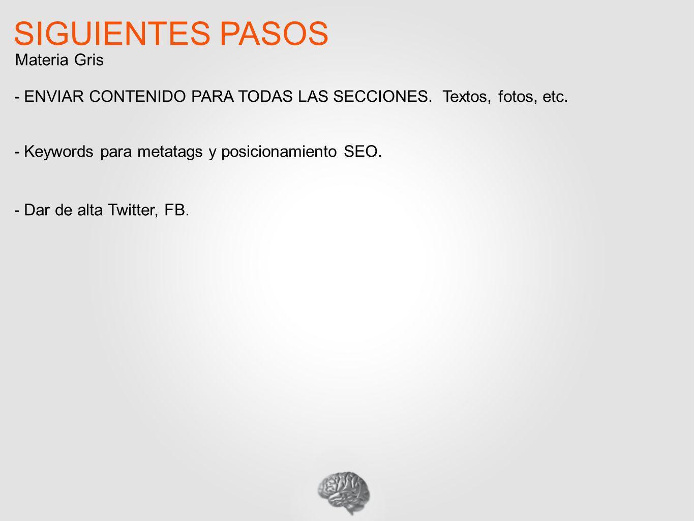 SIGUIENTES PASOS - ENVIAR CONTENIDO PARA TODAS LAS SECCIONES. Textos, fotos, etc. - Keywords para metatags y posicionamiento SEO. - Dar de alta Twitte