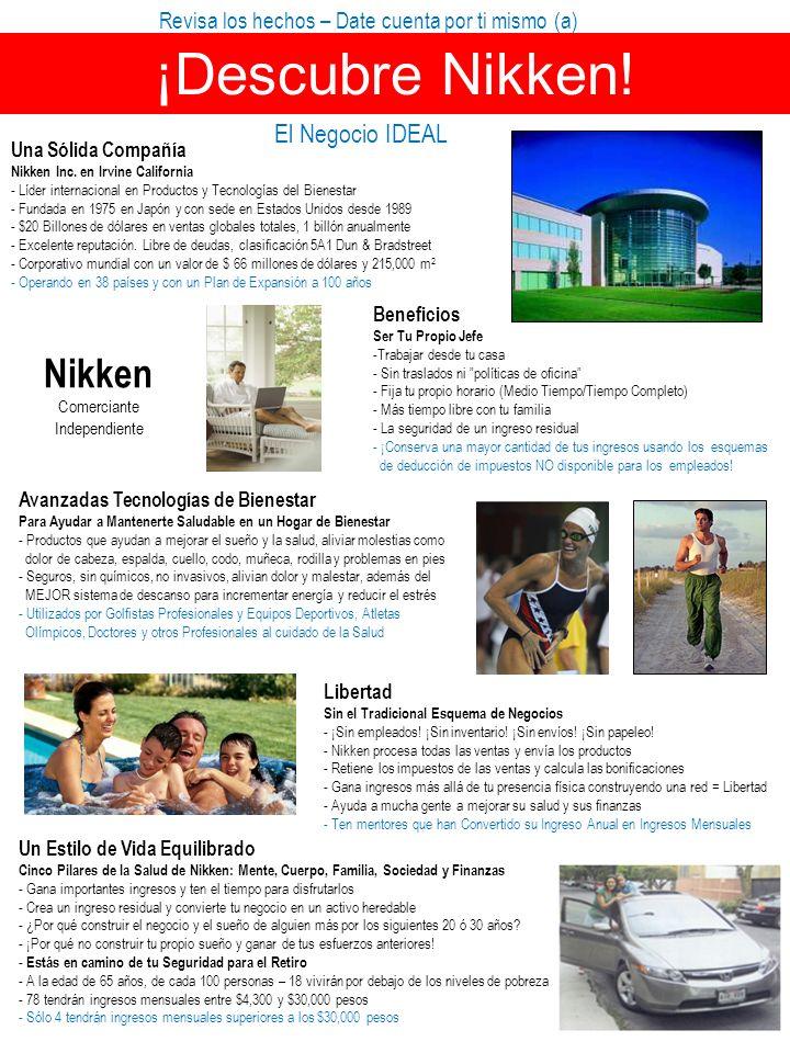 Revisa los hechos – Date cuenta por ti mismo (a) ¡Descubre Nikken! El Negocio IDEAL Una Sólida Compañía Nikken Inc. en Irvine California - Líder inter