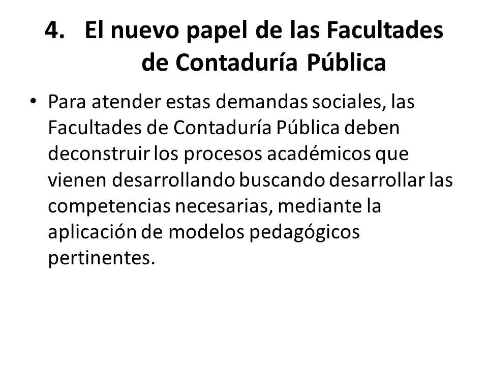 4.El nuevo papel de las Facultades de Contaduría Pública Para atender estas demandas sociales, las Facultades de Contaduría Pública deben deconstruir