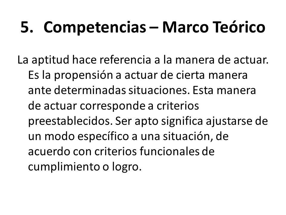 5.Competencias – Marco Teórico La aptitud hace referencia a la manera de actuar. Es la propensión a actuar de cierta manera ante determinadas situacio