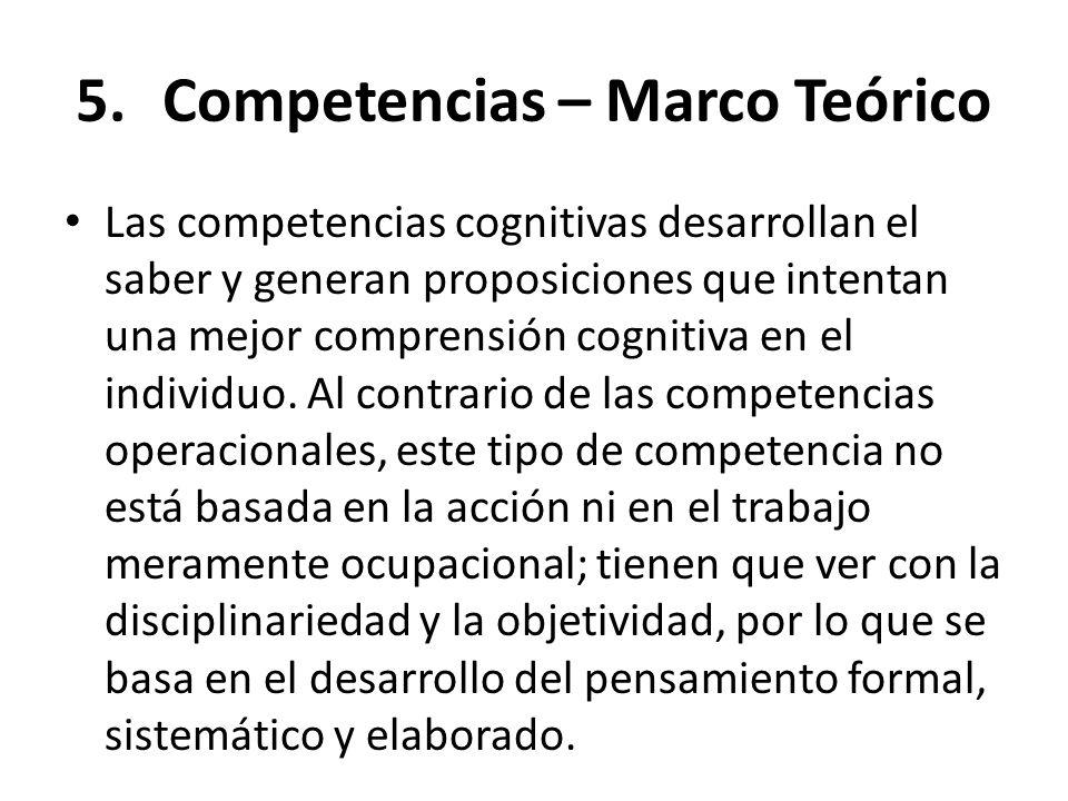 5.Competencias – Marco Teórico Las competencias cognitivas desarrollan el saber y generan proposiciones que intentan una mejor comprensión cognitiva e