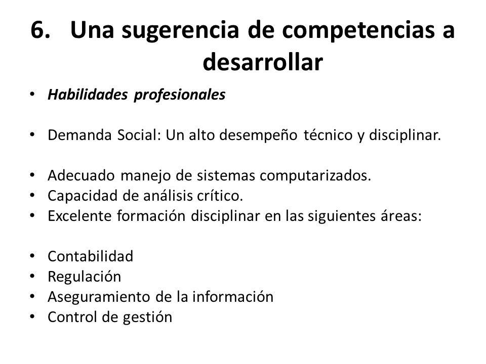 6.Una sugerencia de competencias a desarrollar Habilidades profesionales Demanda Social: Un alto desempeño técnico y disciplinar. Adecuado manejo de s