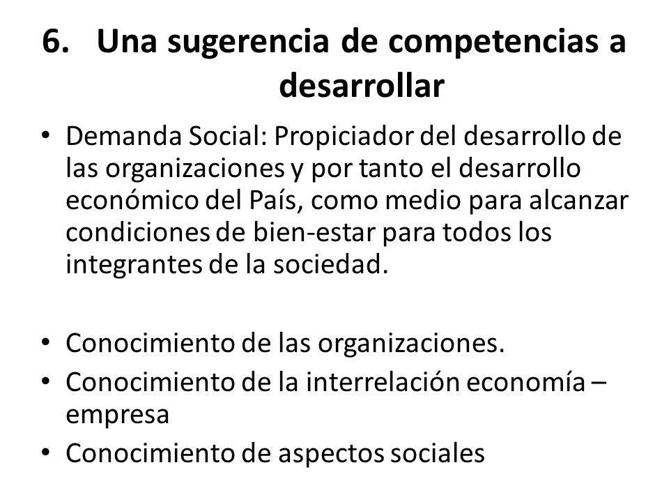 6.Una sugerencia de competencias a desarrollar Demanda Social: Propiciador del desarrollo de las organizaciones y por tanto el desarrollo económico de