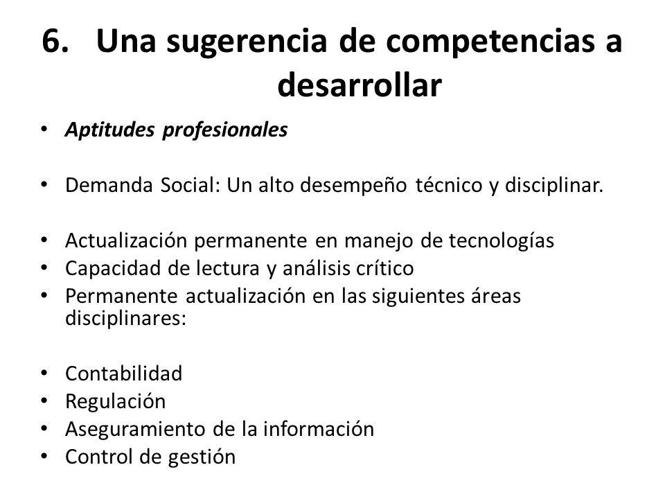 6.Una sugerencia de competencias a desarrollar Aptitudes profesionales Demanda Social: Un alto desempeño técnico y disciplinar. Actualización permanen