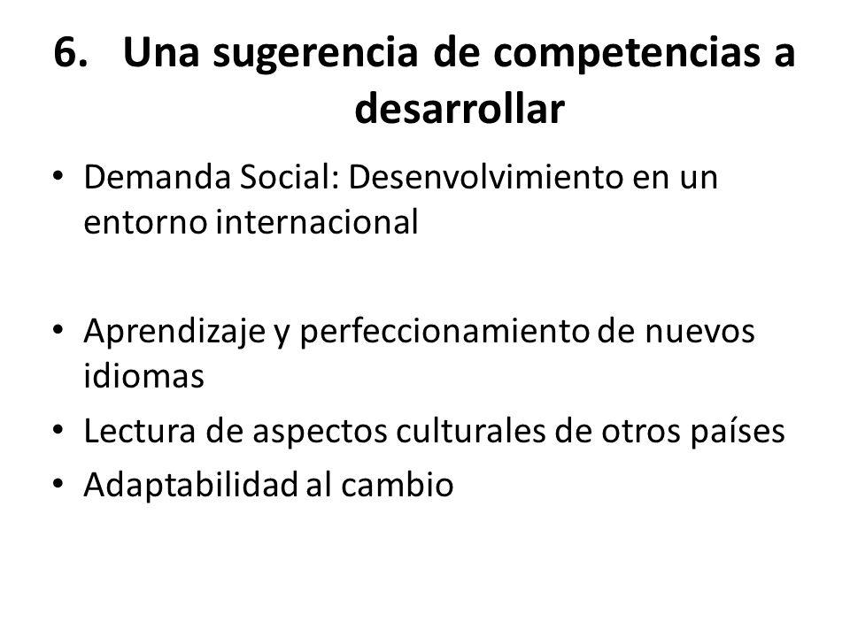 6.Una sugerencia de competencias a desarrollar Demanda Social: Desenvolvimiento en un entorno internacional Aprendizaje y perfeccionamiento de nuevos
