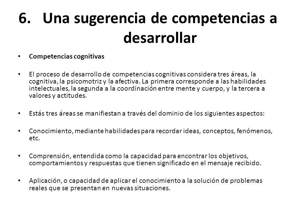 6.Una sugerencia de competencias a desarrollar Competencias cognitivas El proceso de desarrollo de competencias cognitivas considera tres áreas, la co