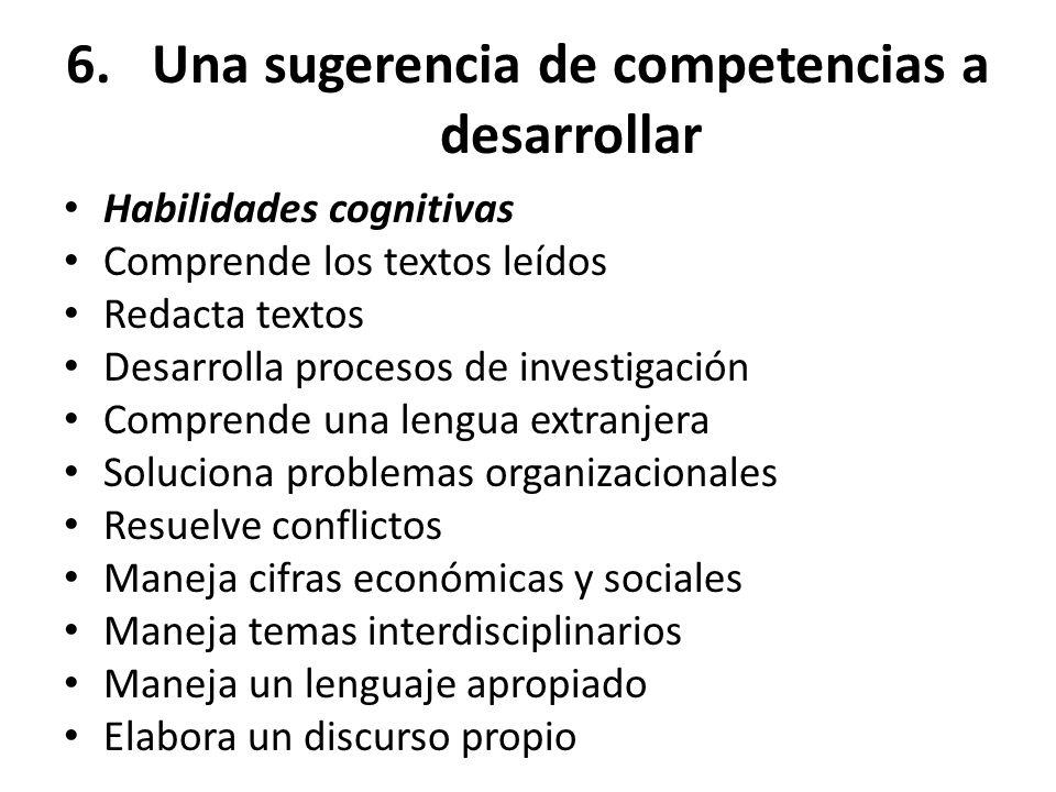 6.Una sugerencia de competencias a desarrollar Habilidades cognitivas Comprende los textos leídos Redacta textos Desarrolla procesos de investigación