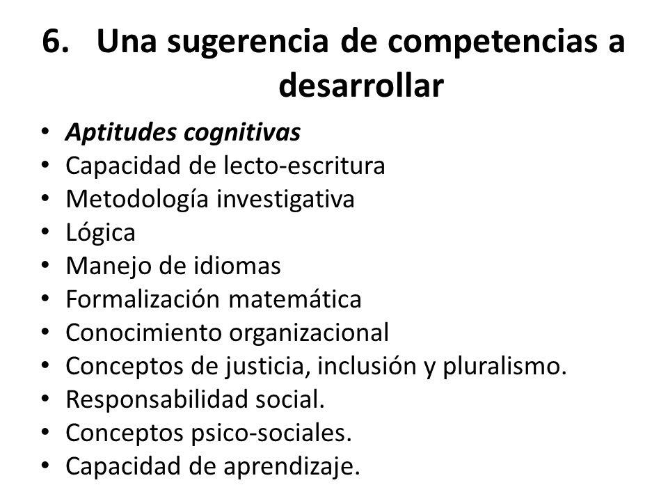 6.Una sugerencia de competencias a desarrollar Aptitudes cognitivas Capacidad de lecto-escritura Metodología investigativa Lógica Manejo de idiomas Fo