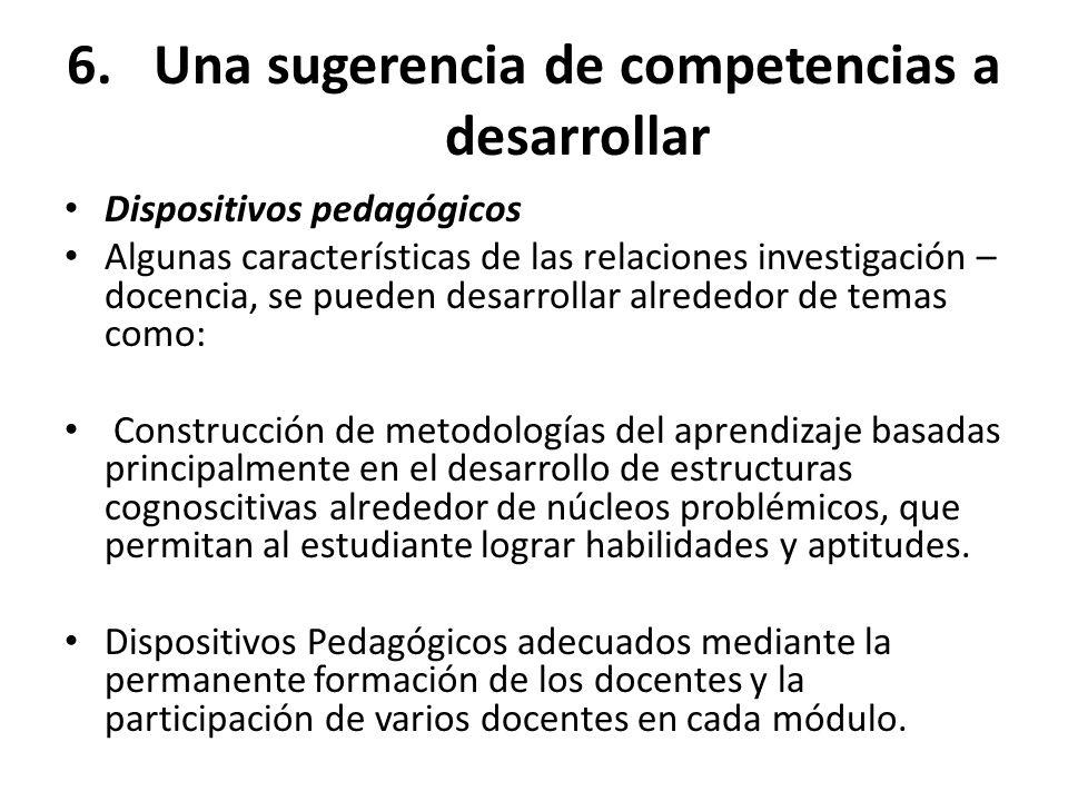 6.Una sugerencia de competencias a desarrollar Dispositivos pedagógicos Algunas características de las relaciones investigación – docencia, se pueden