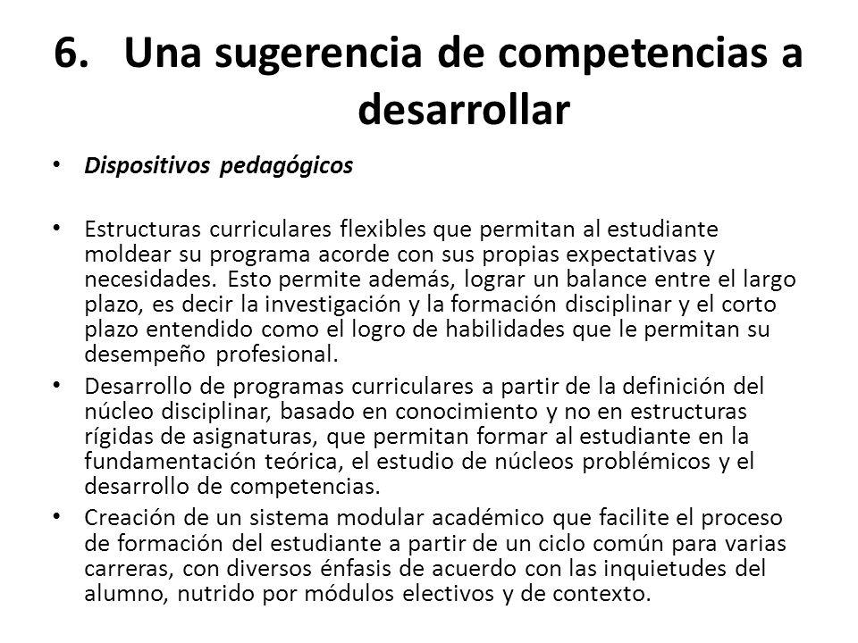 6.Una sugerencia de competencias a desarrollar Dispositivos pedagógicos Estructuras curriculares flexibles que permitan al estudiante moldear su progr