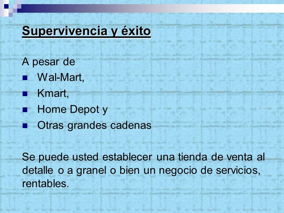 Supervivencia y éxito A pesar de Wal-Mart, Kmart, Home Depot y Otras grandes cadenas Se puede usted establecer una tienda de venta al detalle o a granel o bien un negocio de servicios, rentables.