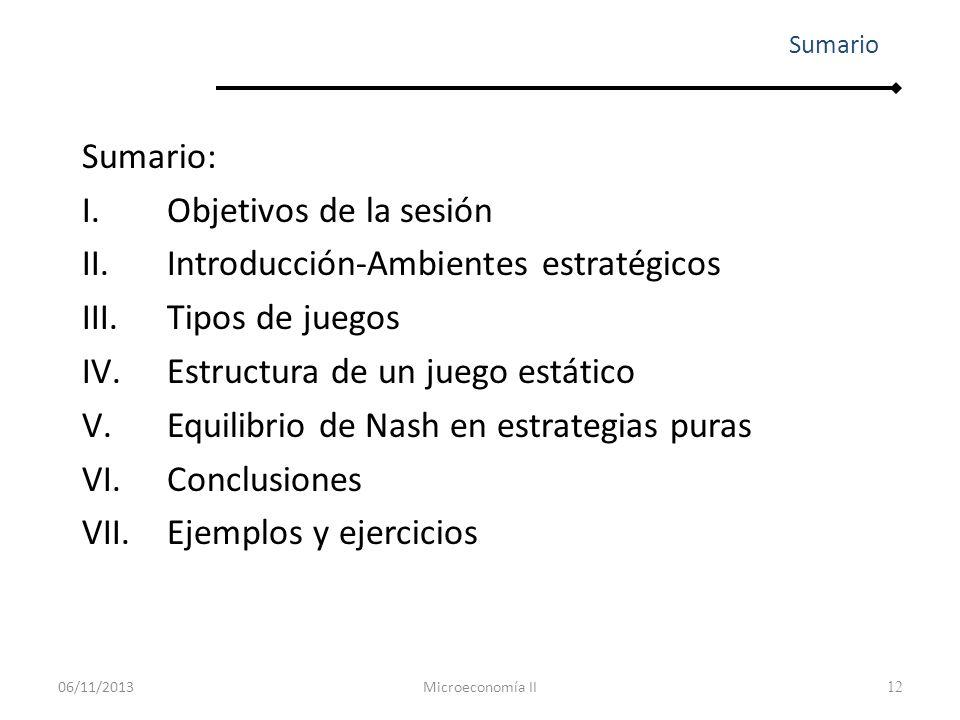 12 Sumario: I.Objetivos de la sesión II.Introducción-Ambientes estratégicos III.Tipos de juegos IV.Estructura de un juego estático V.Equilibrio de Nas