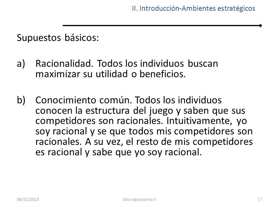 17 Supuestos básicos: a)Racionalidad. Todos los individuos buscan maximizar su utilidad o beneficios. b)Conocimiento común. Todos los individuos conoc
