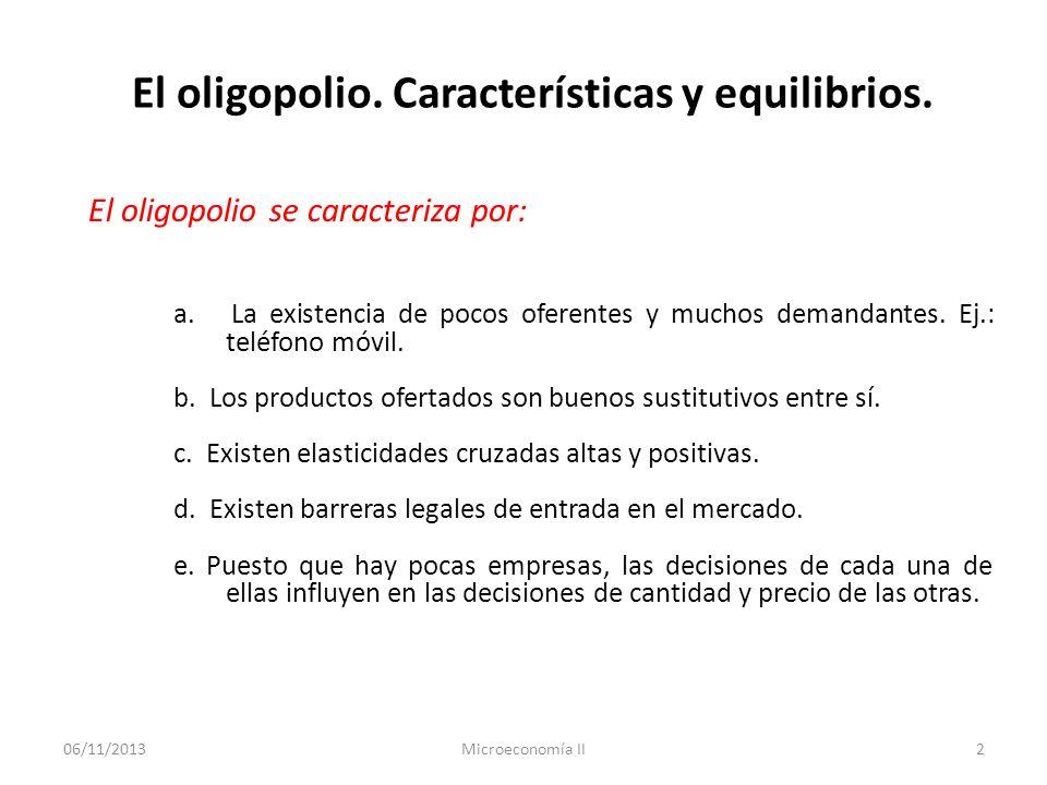 06/11/2013Microeconomía II2 El oligopolio. Características y equilibrios. El oligopolio se caracteriza por: a. La existencia de pocos oferentes y much