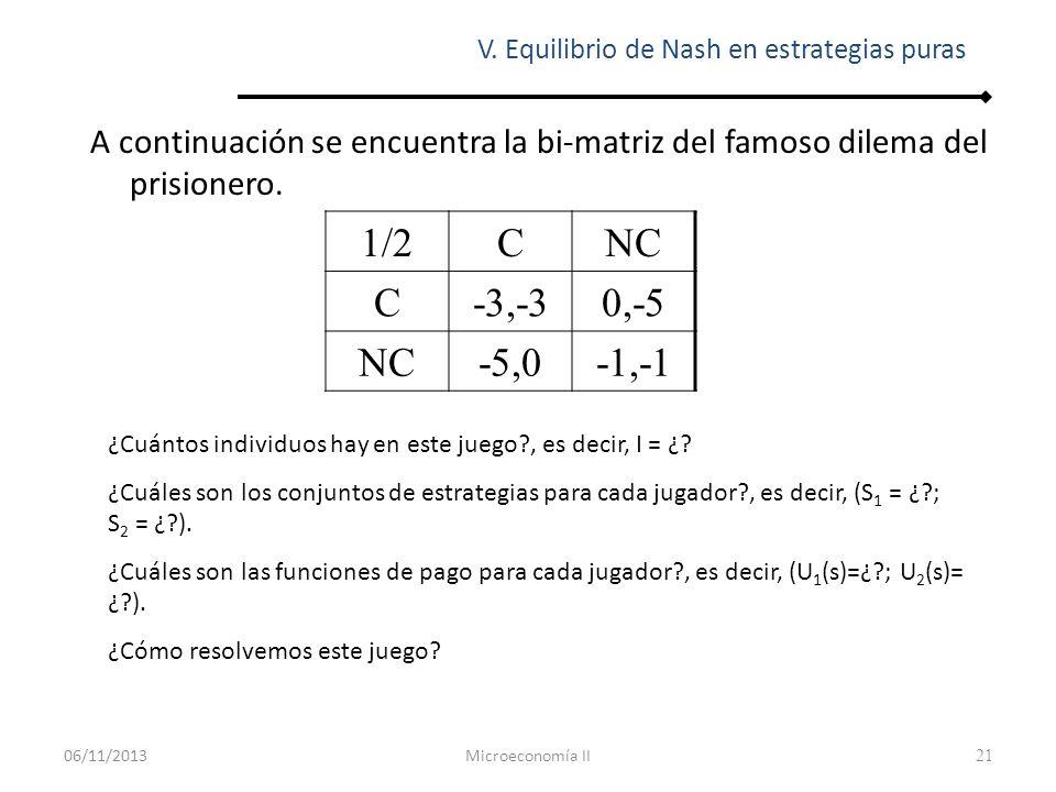 21 A continuación se encuentra la bi-matriz del famoso dilema del prisionero. V. Equilibrio de Nash en estrategias puras 1/2CNC C-3,-30,-5 NC-5,0-1,-1