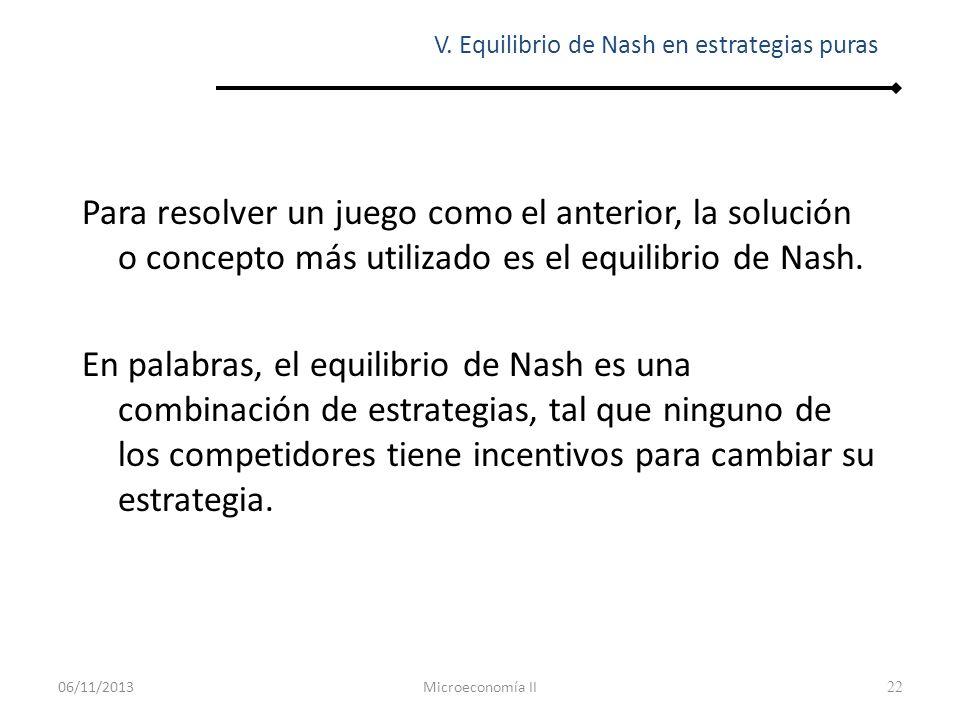 22 Para resolver un juego como el anterior, la solución o concepto más utilizado es el equilibrio de Nash. En palabras, el equilibrio de Nash es una c