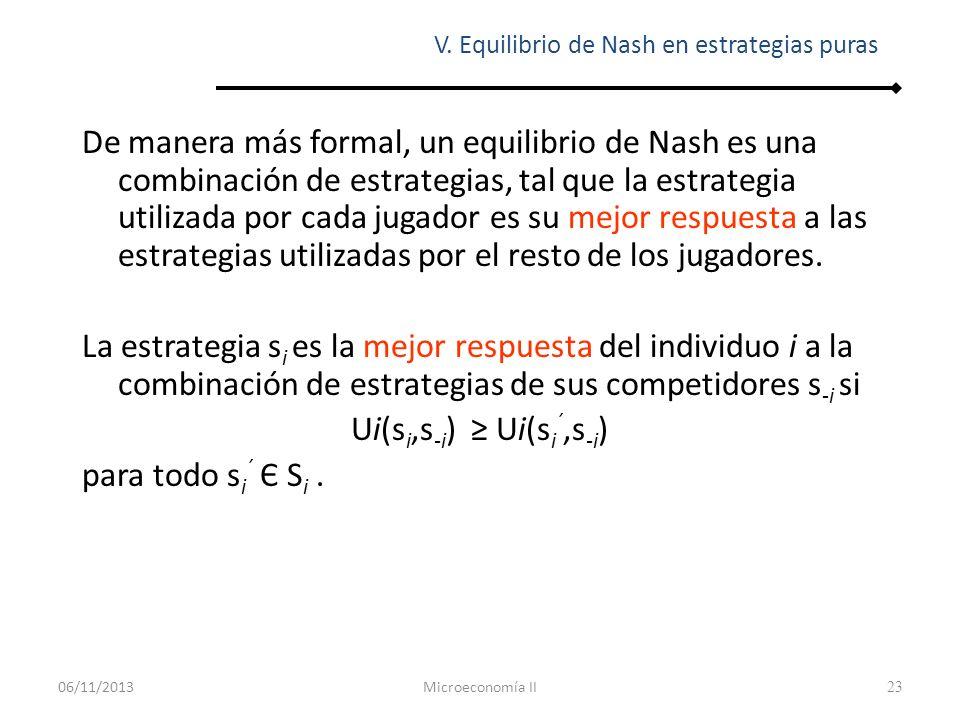 23 De manera más formal, un equilibrio de Nash es una combinación de estrategias, tal que la estrategia utilizada por cada jugador es su mejor respues