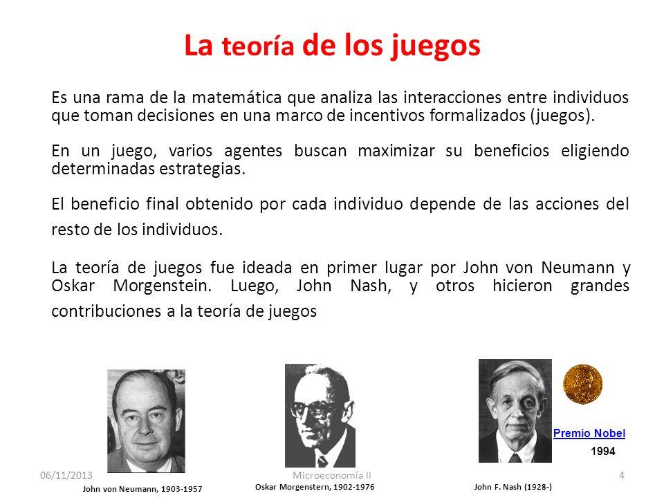 06/11/2013Microeconomía II4 La teoría de los juegos Es una rama de la matemática que analiza las interacciones entre individuos que toman decisiones e