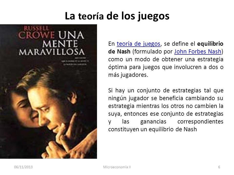 06/11/2013Microeconomía II6 La teoría de los juegos En teoría de juegos, se define el equilibrio de Nash (formulado por John Forbes Nash) como un modo
