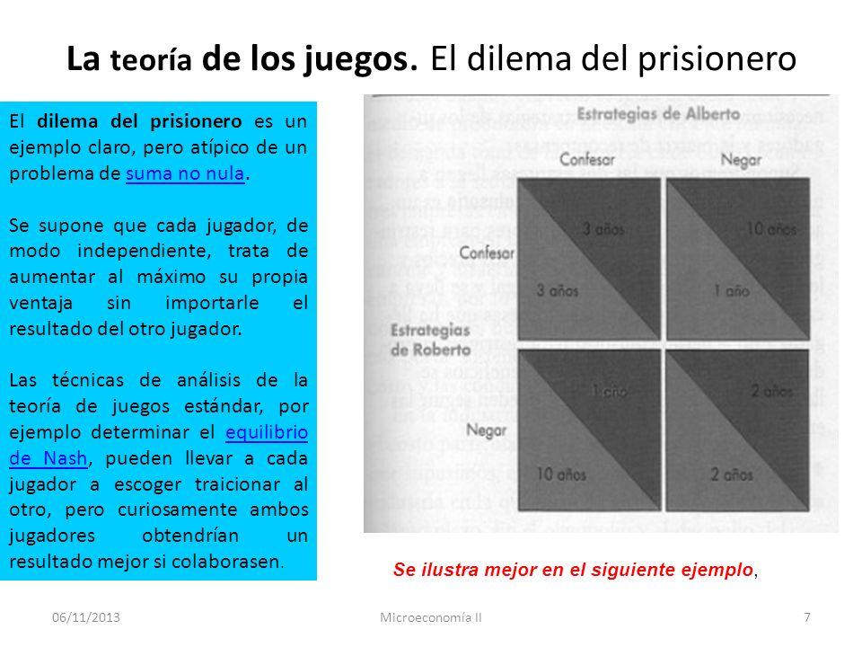 06/11/2013Microeconomía II7 La teoría de los juegos. El dilema del prisionero El dilema del prisionero es un ejemplo claro, pero atípico de un problem