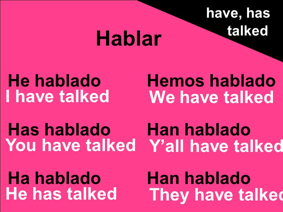 He hablado Has hablado Ha hablado Hemos hablado Han hablado Hablar have, has talked I have talked You have talked He has talked We have talked Yall have talked They have talked