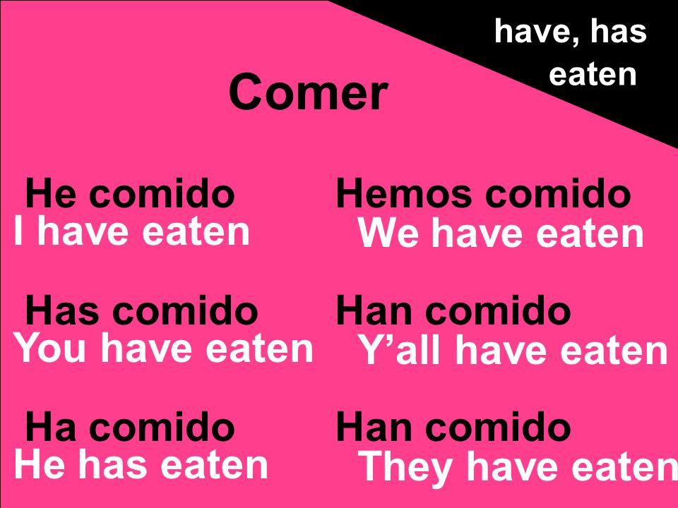 He comido Has comido Ha comido Hemos comido Han comido Comer have, has eaten I have eaten You have eaten He has eaten We have eaten Yall have eaten Th