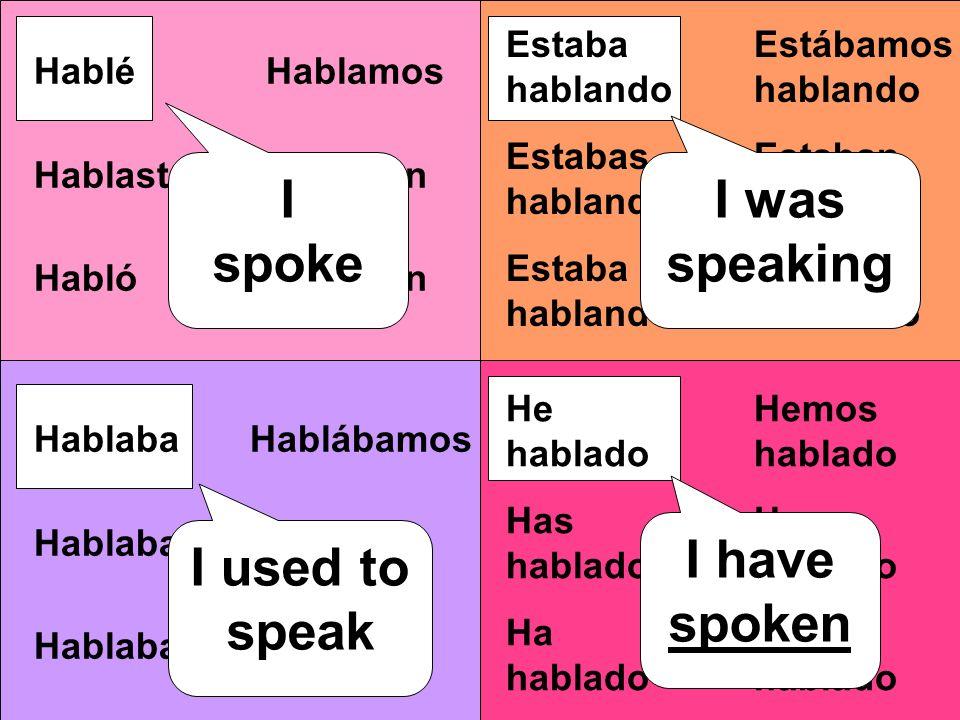 Estábamos hablando Estaban hablando Hablamos Hablaron Hablábamos Hablaban Hemos hablado Han hablado Estaba hablando Estabas hablando Estaba hablando I