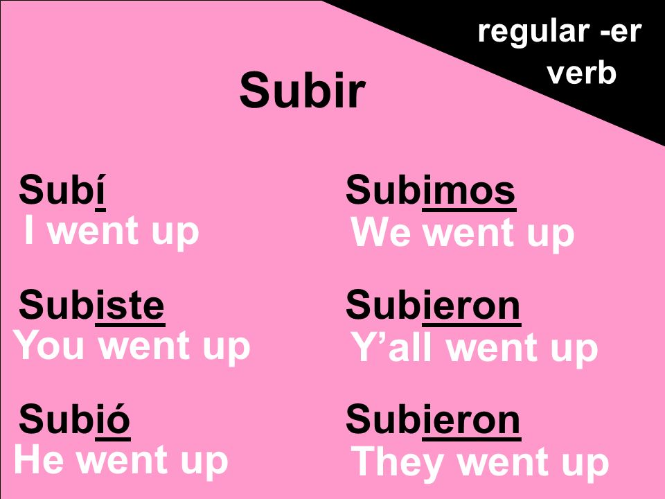 Subí Subiste Subió Subimos Subieron Subir regular -er verb I went up You went up He went up We went up Yall went up They went up