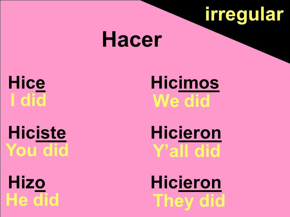 Hice Hiciste Hizo Hicimos Hicieron Hacer I did You did He did We did Yall did They did irregular