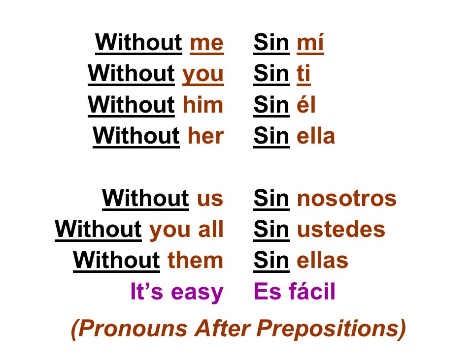 Without me Without you Without him Without her Without us Without you all Without them Its easy Sin mí Sin ti Sin él Sin ella Sin nosotros Sin ustedes
