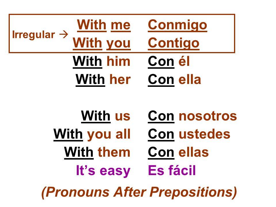 With me With you With him With her With us With you all With them Its easy Conmigo Contigo Con él Con ella Con nosotros Con ustedes Con ellas Es fácil
