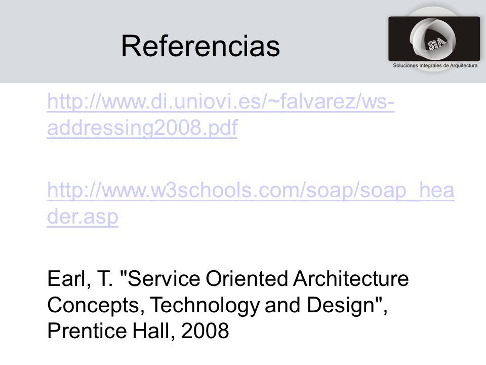 Referencias http://www.di.uniovi.es/~falvarez/ws- addressing2008.pdfhttp://www.di.uniovi.es/~falvarez/ws- addressing2008.pdf http://www.w3schools.com/soap/soap_hea der.asphttp://www.w3schools.com/soap/soap_hea der.asp Earl, T.