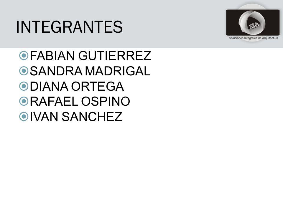 INTEGRANTES FABIAN GUTIERREZ SANDRA MADRIGAL DIANA ORTEGA RAFAEL OSPINO IVAN SANCHEZ