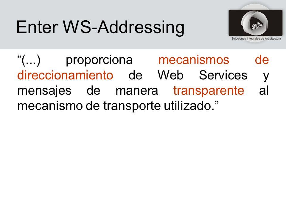 Enter WS-Addressing (...) proporciona mecanismos de direccionamiento de Web Services y mensajes de manera transparente al mecanismo de transporte utilizado.