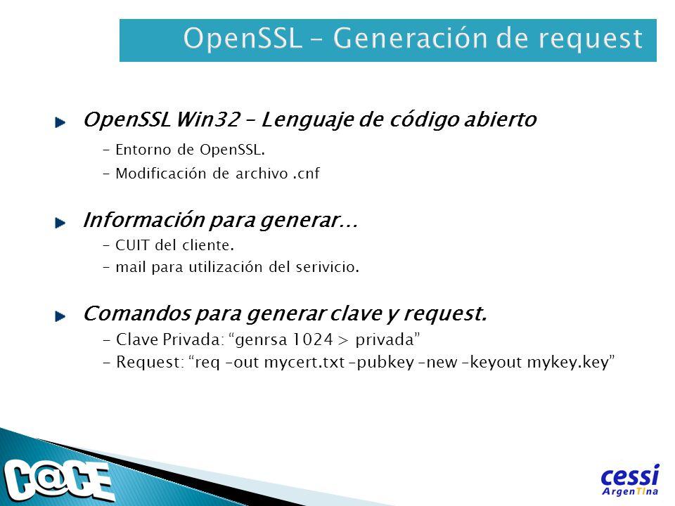 OpenSSL Win32 – Lenguaje de código abierto - Entorno de OpenSSL. - Modificación de archivo.cnf Información para generar… - CUIT del cliente. - mail pa