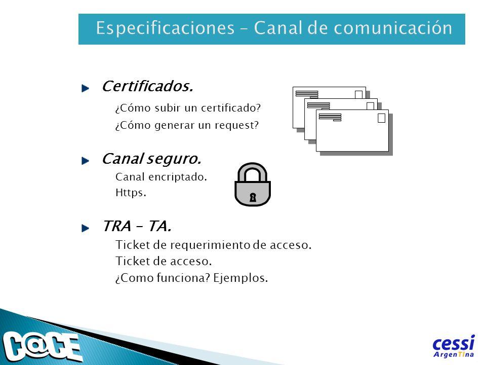 Certificados. ¿Cómo subir un certificado? ¿Cómo generar un request? Canal seguro. Canal encriptado. Https. TRA – TA. Ticket de requerimiento de acceso