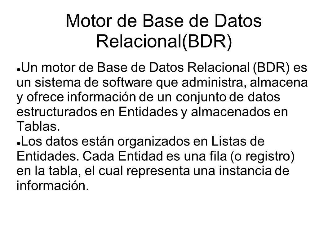 Motor de Base de Datos Relacional(BDR) Un motor de Base de Datos Relacional (BDR) es un sistema de software que administra, almacena y ofrece informac