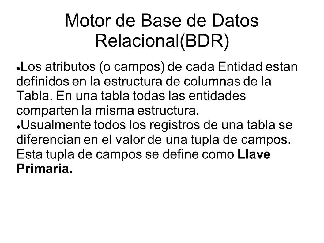 Motor de Base de Datos Relacional(BDR) Los atributos (o campos) de cada Entidad estan definidos en la estructura de columnas de la Tabla. En una tabla