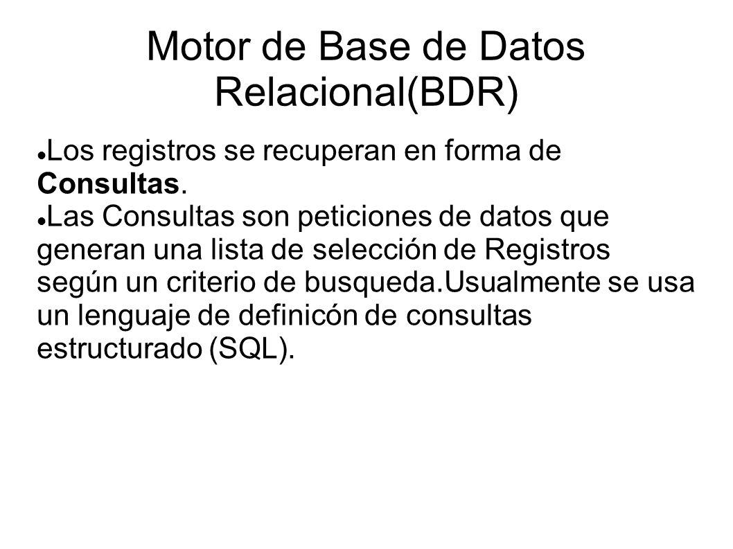 Motor de Base de Datos Relacional(BDR) Los registros se recuperan en forma de Consultas. Las Consultas son peticiones de datos que generan una lista d