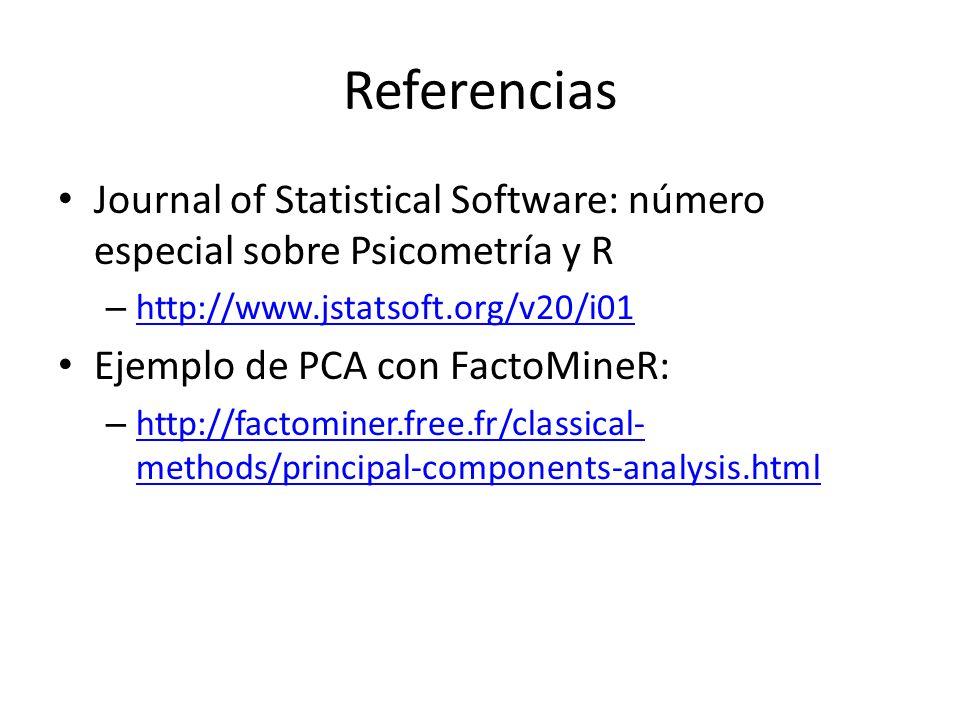 Referencias El concurso Netflix: – http://www.netflixprize.com//community/viewto pic.php?id=1537 http://www.netflixprize.com//community/viewto pic.php?id=1537 La necesidad de utilizar matrices sparse (poco densas) para poder trabajar con netflix y SVD / PCA – http://www.r-bloggers.com/the-netflix-prize-big- data-svd-and-r-2/ http://www.r-bloggers.com/the-netflix-prize-big- data-svd-and-r-2/