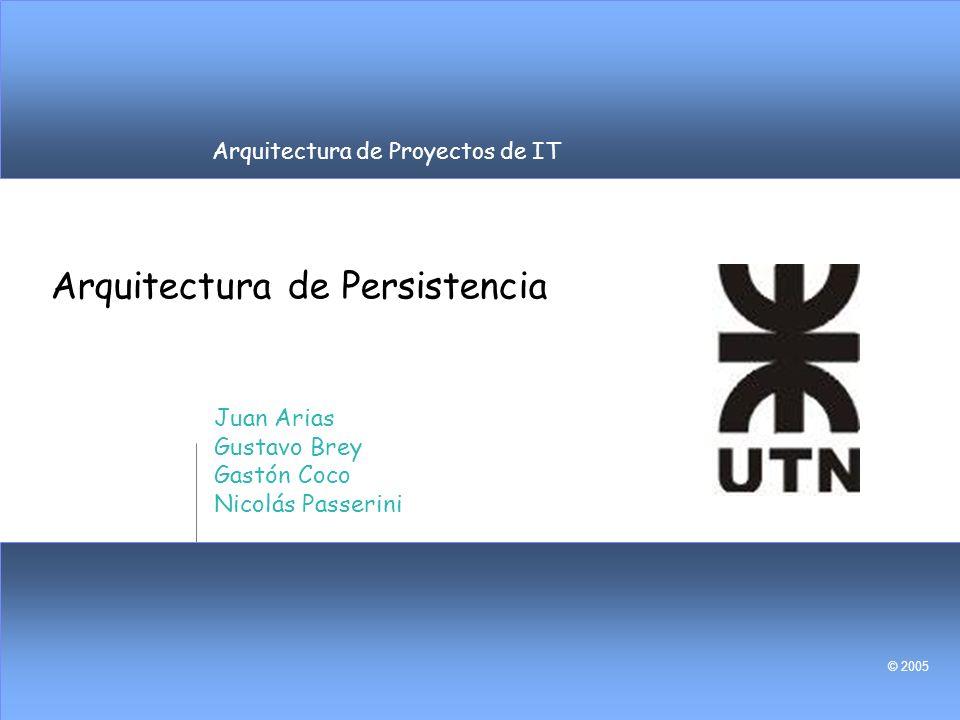 Arquitectura de Proyectos de IT © 2005 Arquitectura de Persistencia Juan Arias Gustavo Brey Gastón Coco Nicolás Passerini
