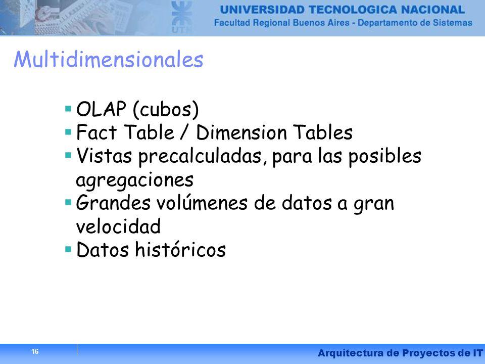 16 Arquitectura de Proyectos de IT 16 Multidimensionales OLAP (cubos) Fact Table / Dimension Tables Vistas precalculadas, para las posibles agregacion